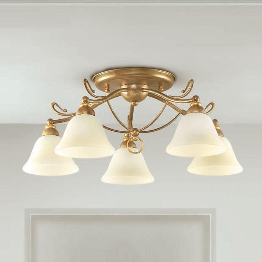 Elegant Messing Deckenlampe Referenz Von Lam Deckenleuchte, Messing-antik, Scavoglas, Ø 60 Cm,