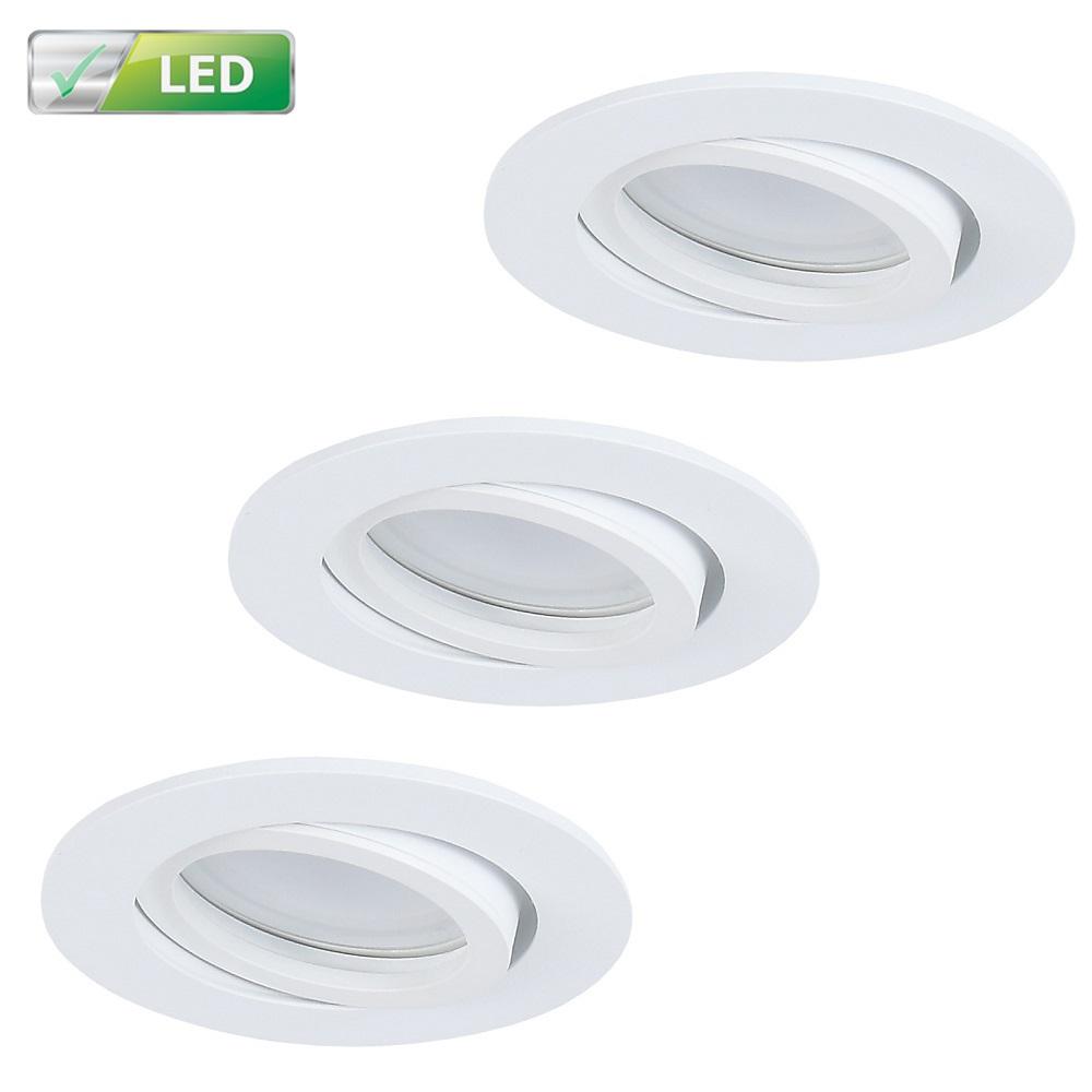 LHG Einbaustrahler 3er Set, weiß, rund, D 8,2 cm, inkl. GU10 LED 5W