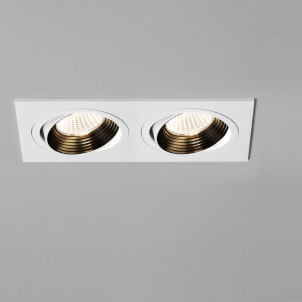 Einbaustrahler in Weiß, 2x7W LED, dimmbar, schwenkbar