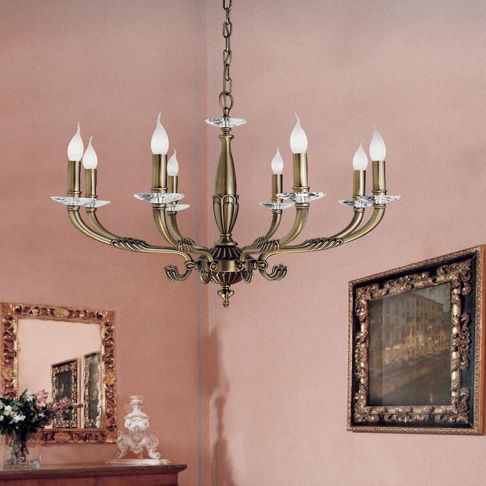 Eleganter Kronleuchter in Messing-Antik - 3 Größen, Kristallglas-Tellern