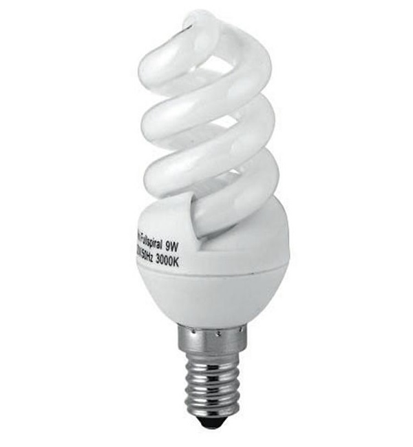 Energiesparlampe E14  9W Spiralenform