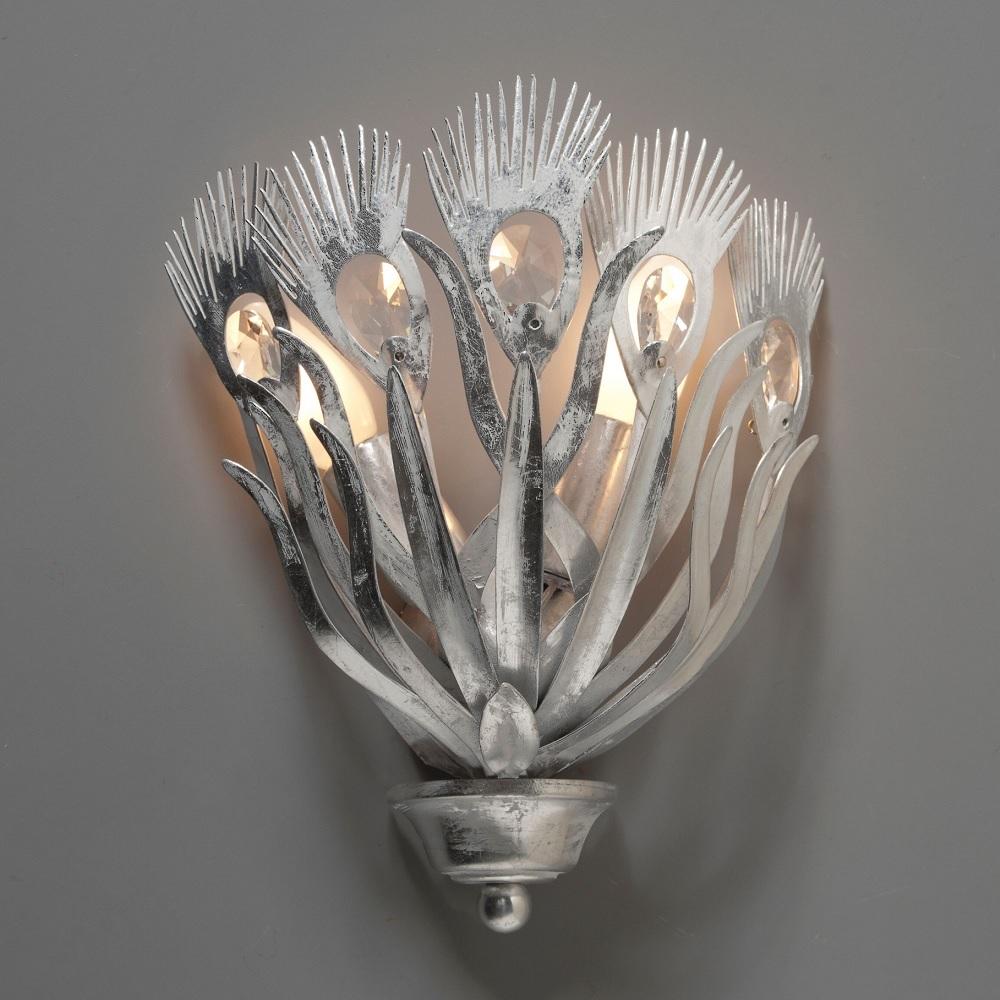 Erlesene Wandleuchte - Made in Italy - Blattsilber Weiß - Kristallglas