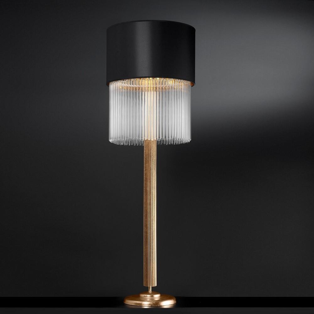 Exquisite Stehleuchte Blattgold, Schirm Schwarz, Kristallgehänge