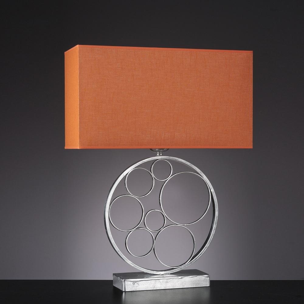 Exquisite Tischleuchte - Textillampenschirm in Orange - Oberfläche in Blattsilber