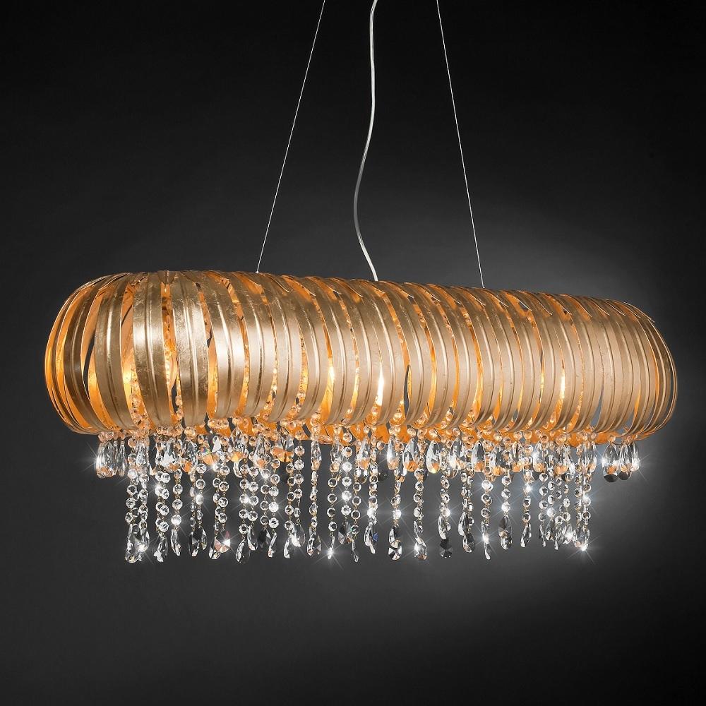 Extravagante Pendelleuchte - Blattgold - Kristallglasbehang - Für Leuchtmittel 9 x E14  40 Watt