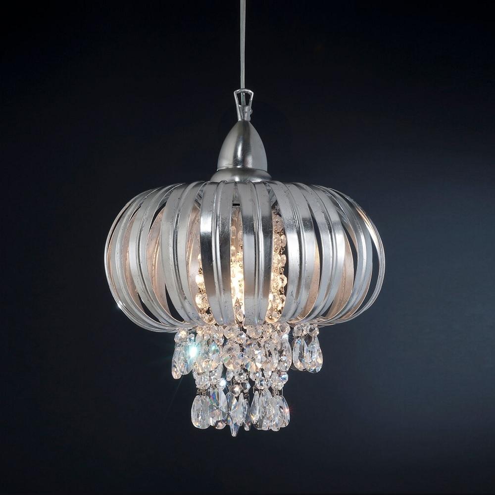Extravagante Pendelleuchte - Blattsilber - Kristallglasbehang - Für Leuchtmittel 3 x E14  40 Watt