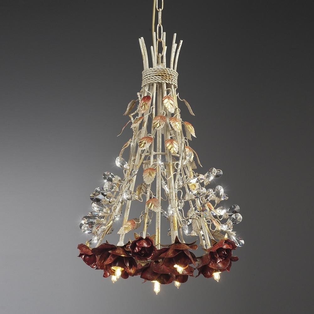 Florentiner Pendelleuchte - 6-flammig - Kristallprismen - Farbe Pompej