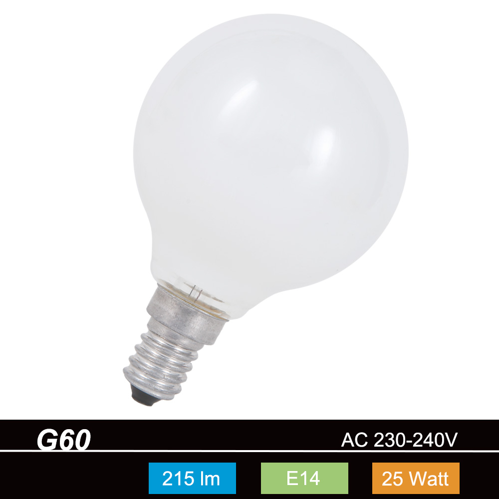 G60 Globe 60mm E14 opal weiß  25W Leuchtmittel