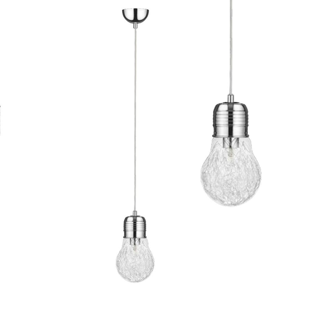 Glühbirne mit Drahtfäden in Chrom, Pendelleuchte 1x Bulb