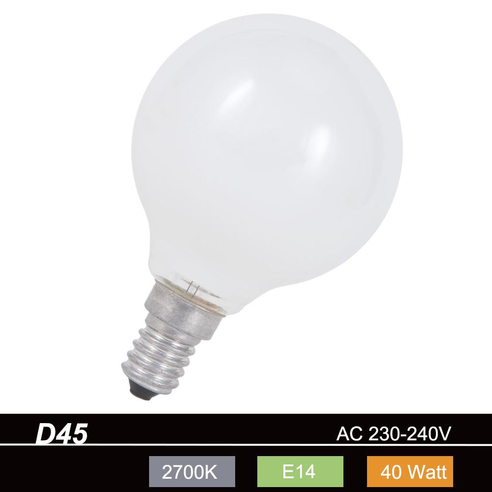 Glühlampe D45 Tropfen 40W opal weiß E14