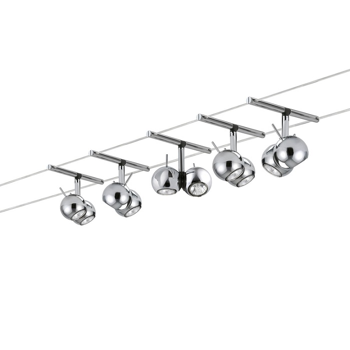 Paulmann Halogen Seilsystem Komplett-Set in Chrom, 2x 5m, inklusive 5 schwenkbarer 2x 20W Kugel- Spots 976.15 | Lampen > Strahler und Systeme > Seilsysteme | Paulmann