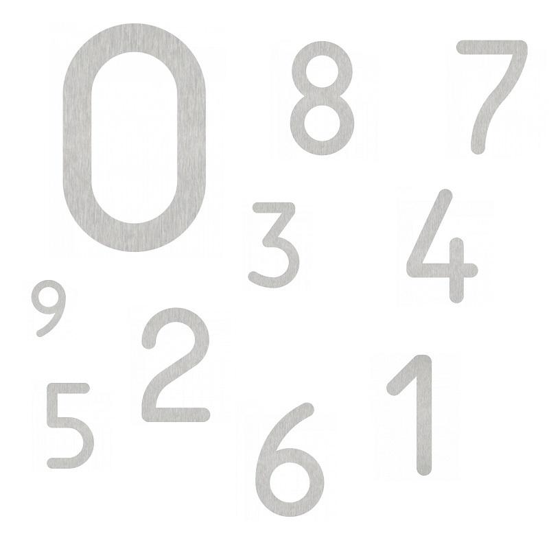 Hausnummer von 0-9 - in Edelstahl - Höhe 16cm