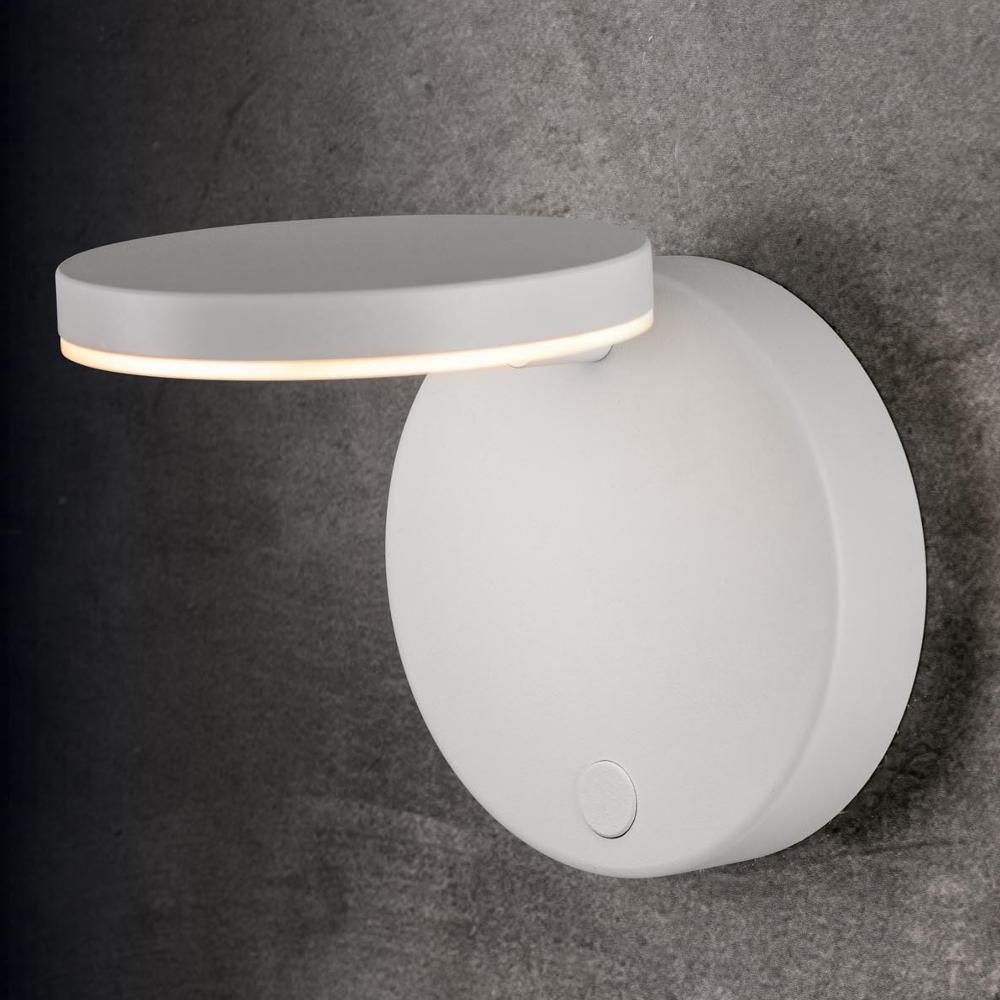 Holtkötter LED-Wandleuchte Plano, Tastdimmer, Struktur weiß