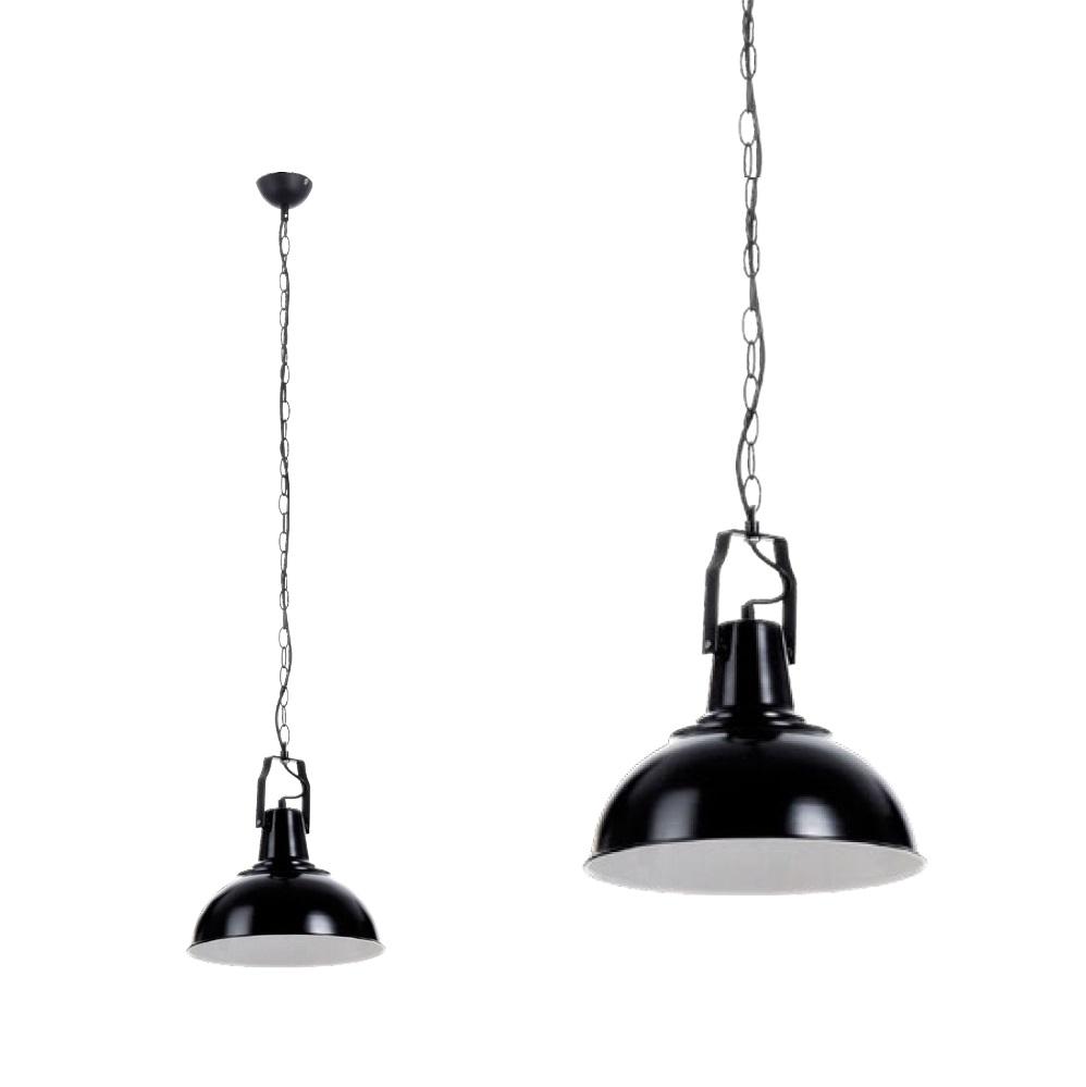 Kettenpendelleuchte Lofti, Factory Look , Ø 32cm Metall schwarz