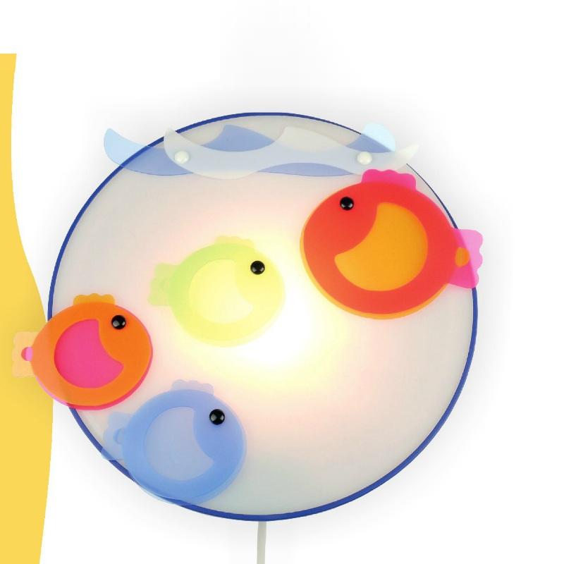 LHG Kinder-Wandleuchte bunte Fische - inklusive 1x E14 25 Watt