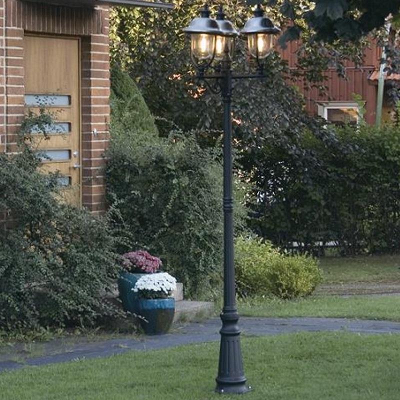 Konstsmide Klassische 3-flammige Mastleuchte in schwarz - Höhe 218cm 7243-000 | Lampen > Aussenlampen > Sockelleuchten | Schwarz | Aluminium - Edelstahl | Konstsmide