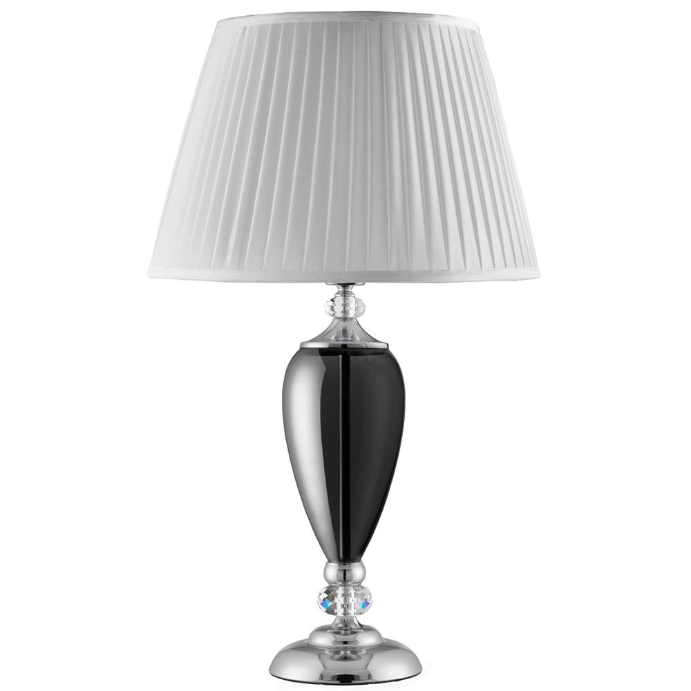 Klassische Tischleuchte aus Chrom mit weißem Satin Lampenschirm