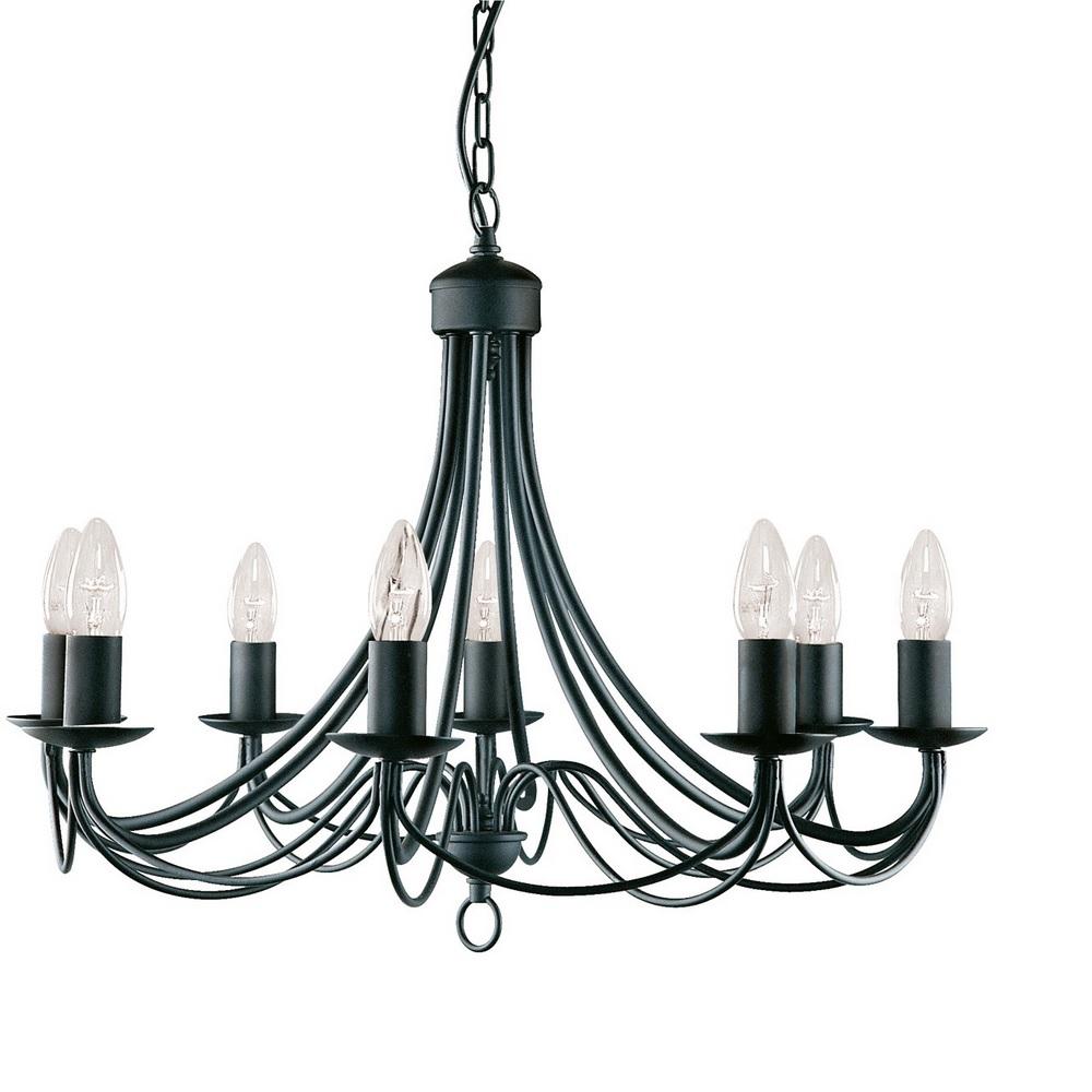 Klassischer Kronleuchter Maypole in matt Schwarz 8-flammig