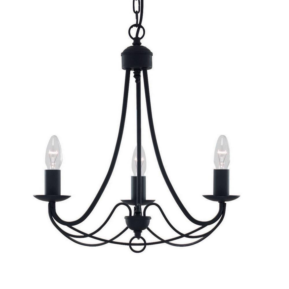 Klassischer Kronleuchter Maypole in matt Schwarz 3-flammig