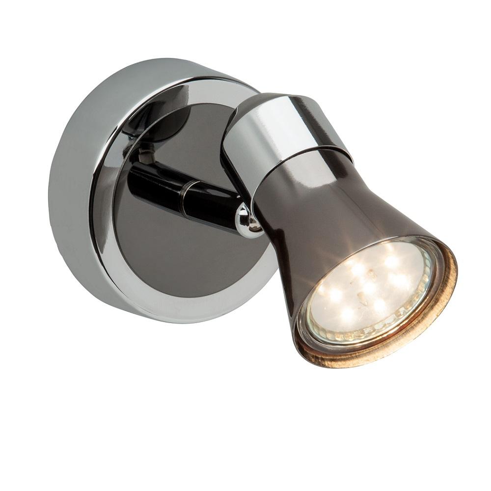Klassischer Wandstrahler mit LED-Leuchtmittel -  Chrom und Schwarz