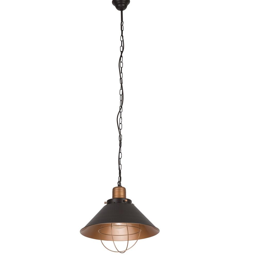 Kleine Pendelleuchte Garret im Industrie Stil in Schwarz/Kupfer