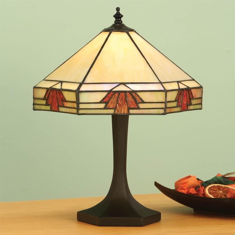 Kleine Tiffany-Tischleuchte - Dunkelbraun -  Tiffanyglas in warmen Farben -   Für Leuchtmittel 2x E27 60 Watt