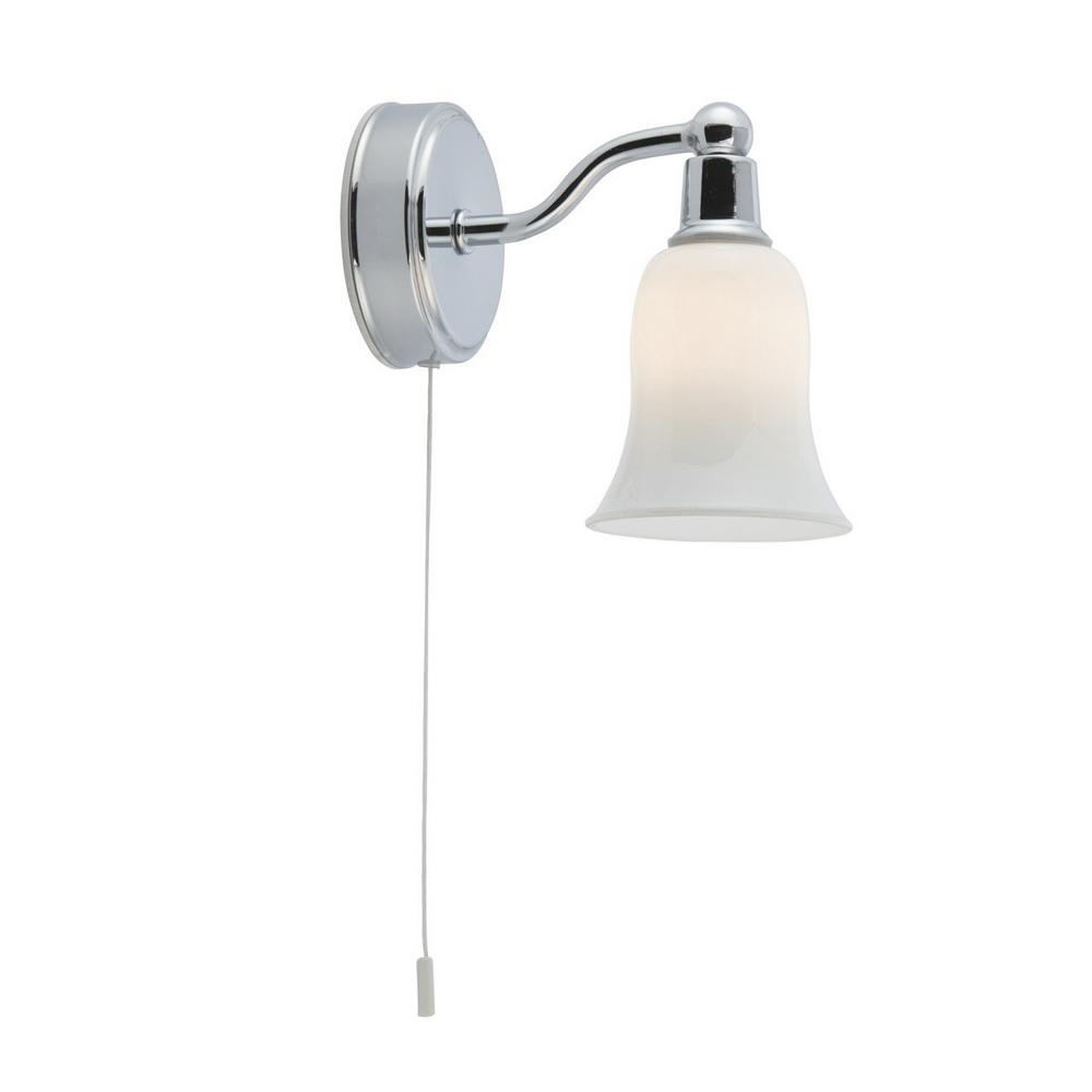 Kleine Wandleuchte aus Chrom mit Glasschirm inklusive LED