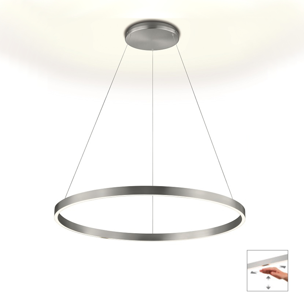Knapstein LED Pendelleuchte Ø 80 cm, Gestensteuerung, up & down, Nickel matt