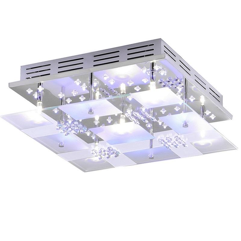 Kristall-Deckenleuchte 35x35cm in Chrom, Fernbedienung