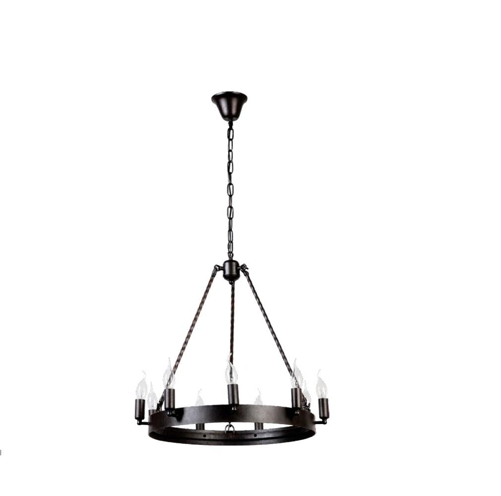 Kronleuchter im Industrial-Look, Metall Schwarz, Ø 60cm