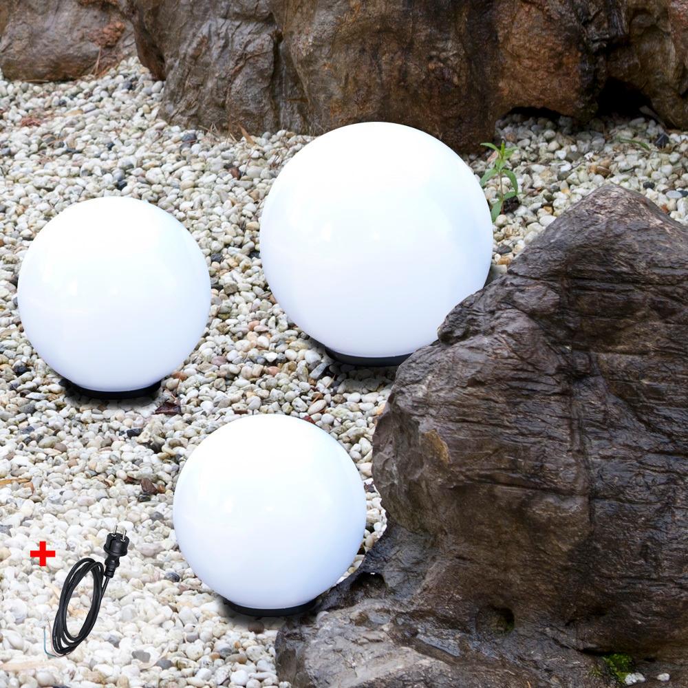 LHG Kugelleuchten, 3er Set, 2 x 20cm & 1 x 30cm, mit Kabel, Gartenlampen