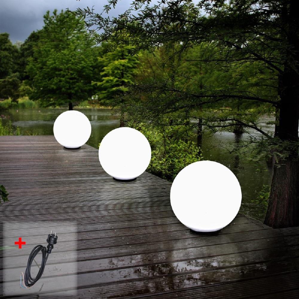 Kugelleuchten, 3er Set, 2 x 40cm & 1 x 60cm, mit Kabel, Gartenlampen