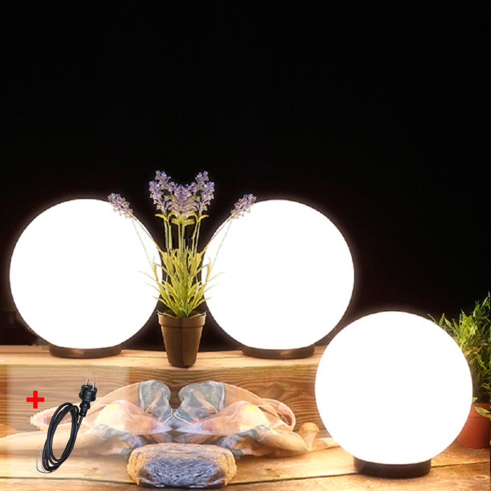 LHG Kugelleuchten, Außenlampen, 3er Set, 3 x 30cm, mit Kabel, dekorativ