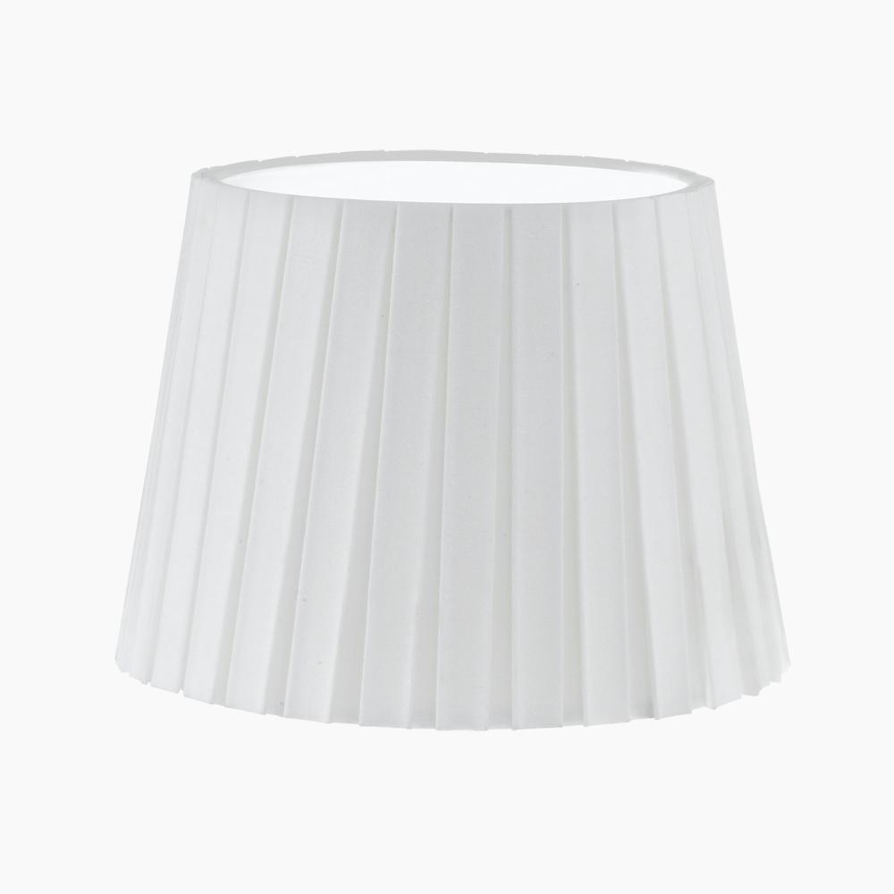Lampenschirm aus Textilgewebe - Plisse in Weiß - Höhe 17 cm - Durchmesser 24,5 cm
