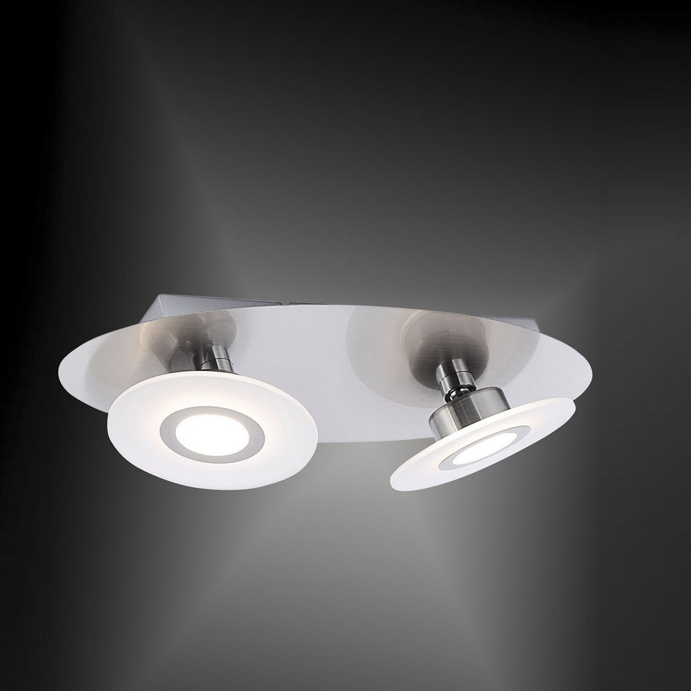 LED Deckenleuchte 2-flammig mit LED-Switchmo ® in Nickel