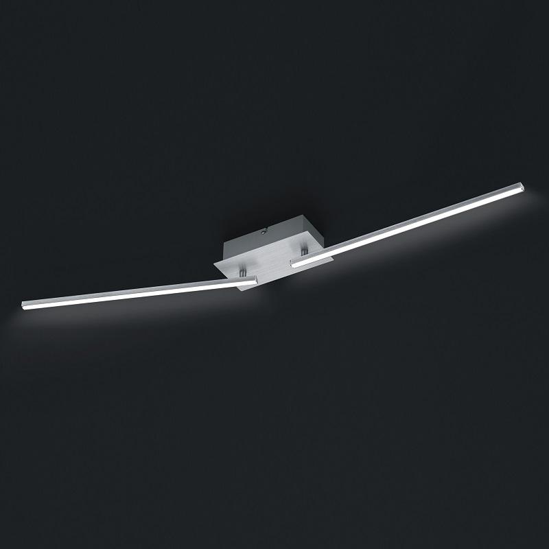 LHG LED Deckenleuchte in Aluminium gebürstet -  Länge 100cm - inklusive 2x 11W LED je 1100lm 3000K + Extra 1x GU10 LED Leuchtmittel zur freien Nutzung