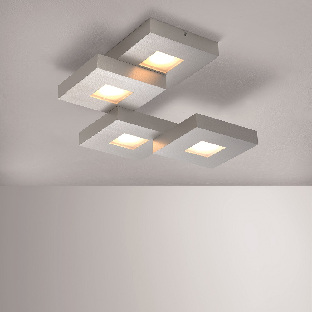 LED Deckenleuchte Cubus in Aluminium geschliffen - 4 Varianten