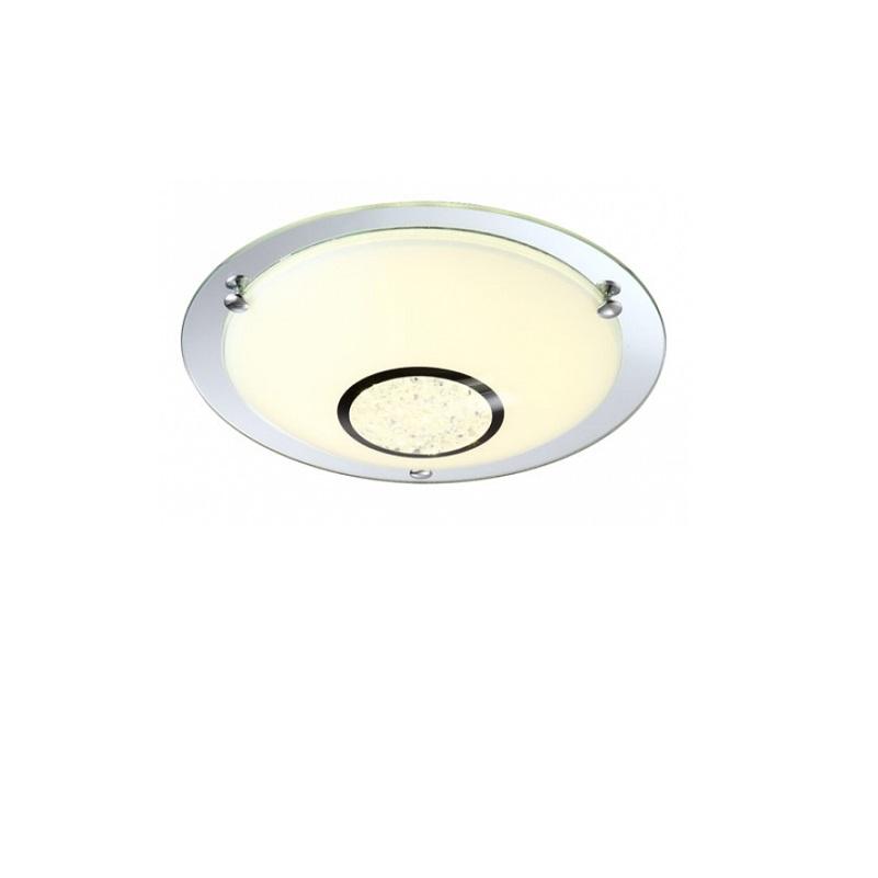 LED Deckenleuchte in Opal- und Spiegelglas-Kristall  - Ø 31,5cm inklusive LED-Taschenlampe