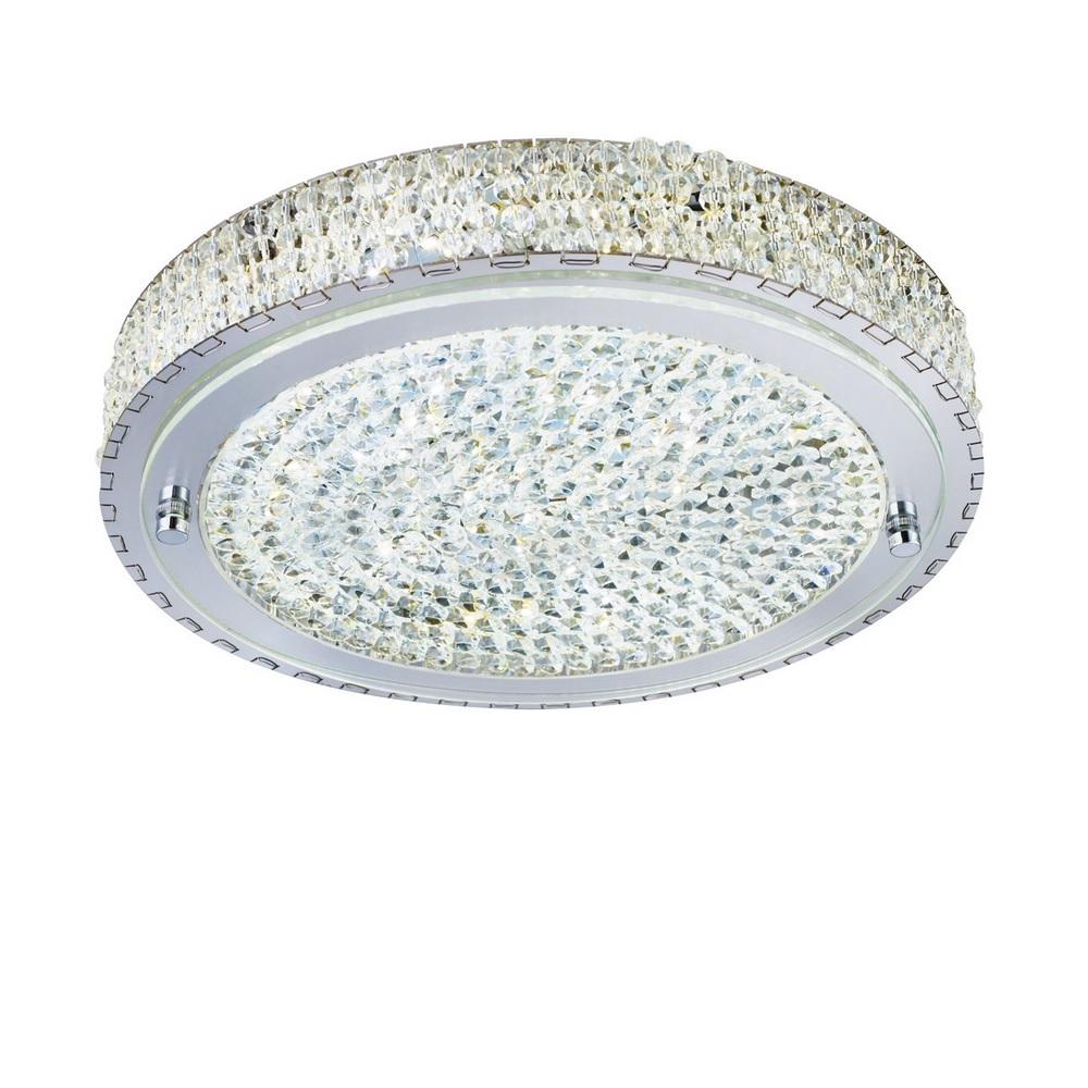 LED Deckenleuchte Vesta aus Chrom und Kristallglas, 30 cm