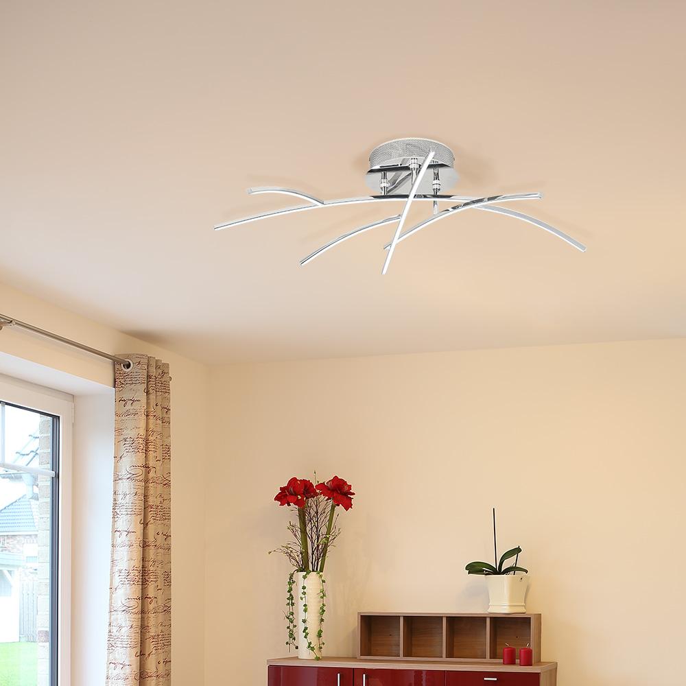 LED Deckenleuchte, Chrom, 6-flammig, astförmig, dekorativ LED warmweiß