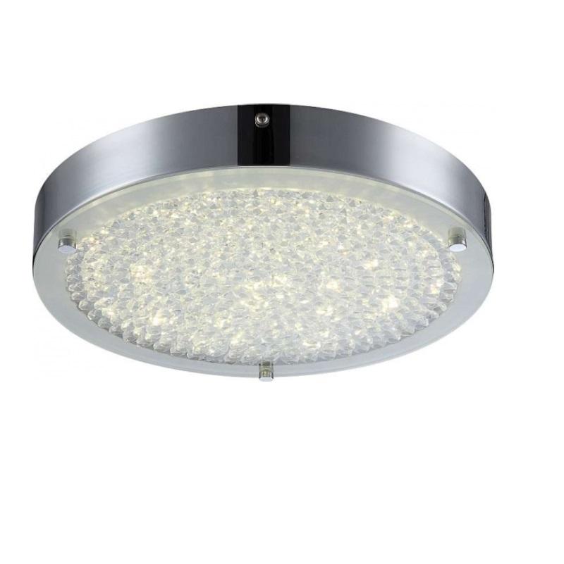 LHG LED Deckenleuchte - Chrom - Kristall -  Ø 30cm, 1x 17Watt, 1900lm - inklusive  LED Taschenlampe