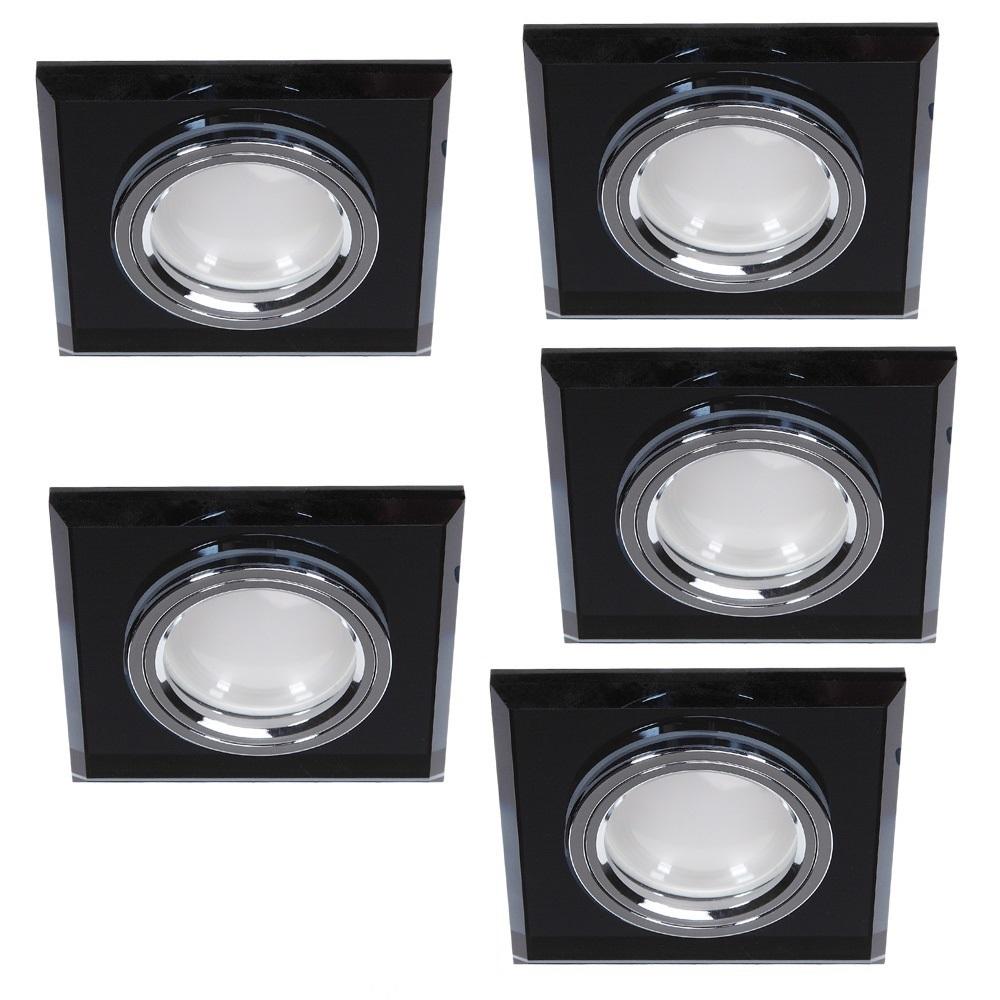 LED Einbauleuchte 5er Set, eckig, Glas schwarz, 3-fach schaltbar