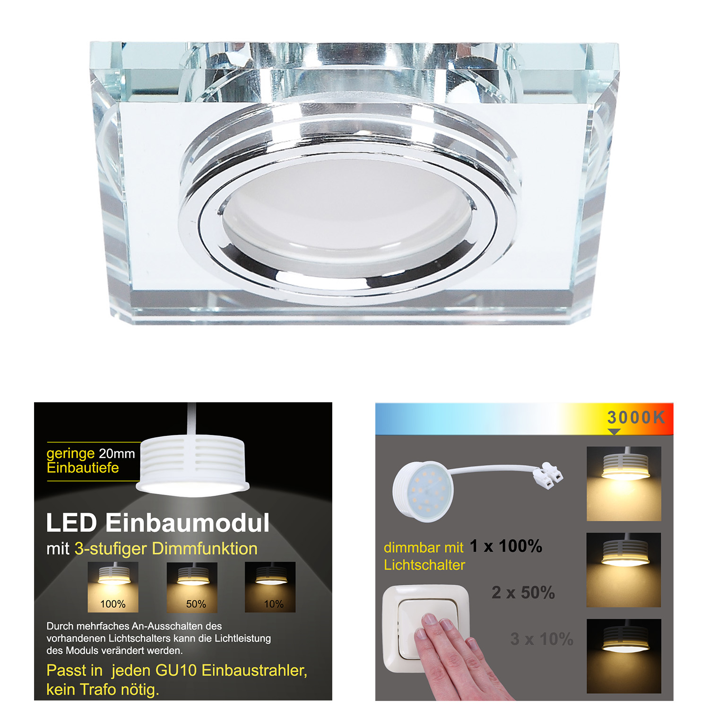 LHG LED Einbaustrahler, 1er Set, Glas eckig, 3-fach schalterdimmfähig
