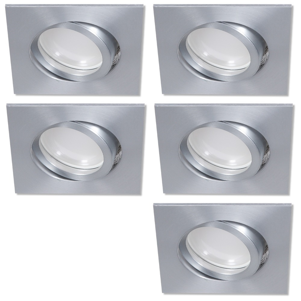 LHG LED Einbaustrahler, 5er Set, Aluminium, eckig, 3-fach switchmo dimmbar