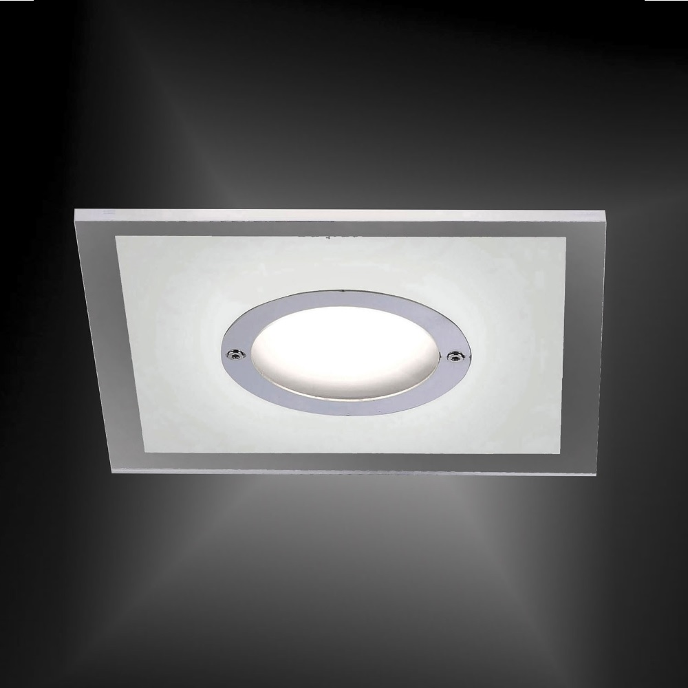 LED Einbaustrahler, Chrom, Glas, quadratisch, dimmbar, 13 x 13cm