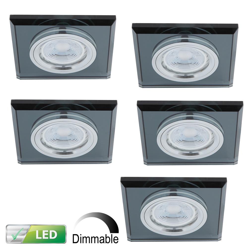 LHG LED Einbaustrahler, Glas schwarz, eckig, 5er Set, inkl. LED dimmbar