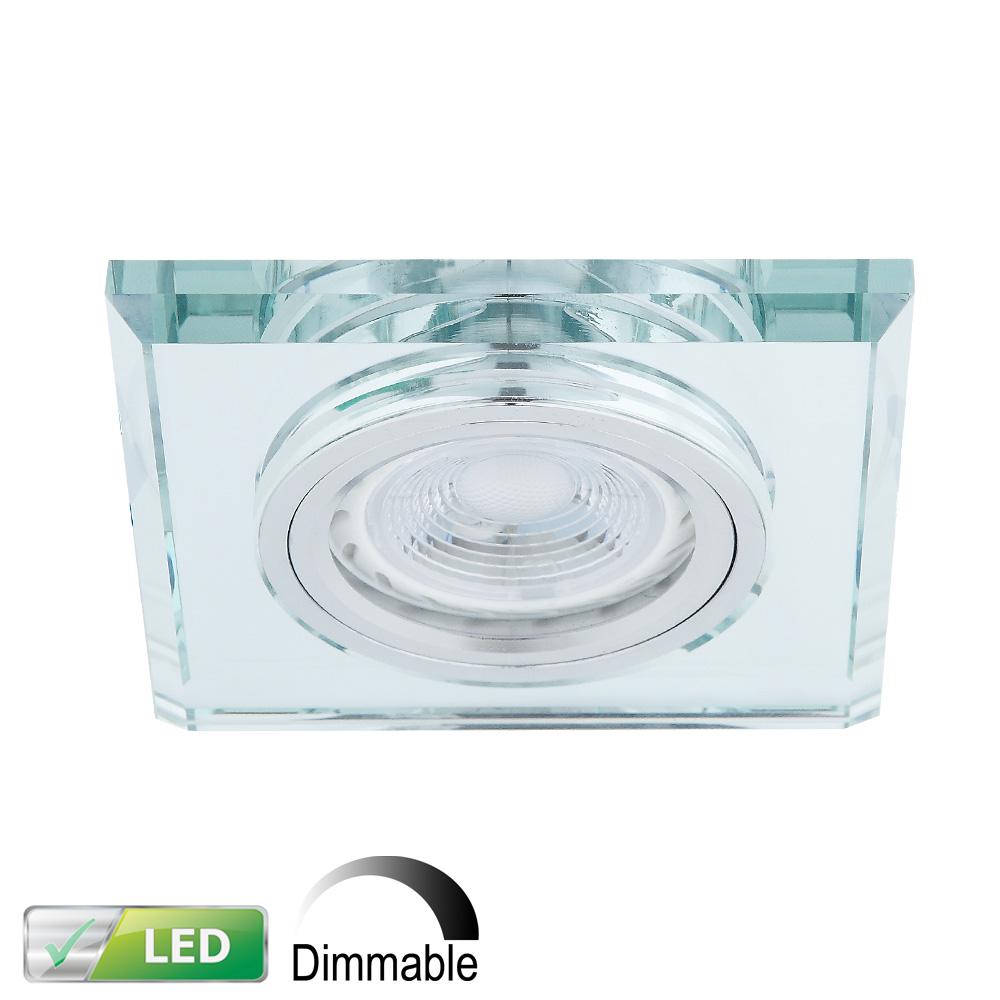 LHG LED Einbaustrahler, Glasrahmen eckig, 1er-Set, LED 5 Watt dimmbar