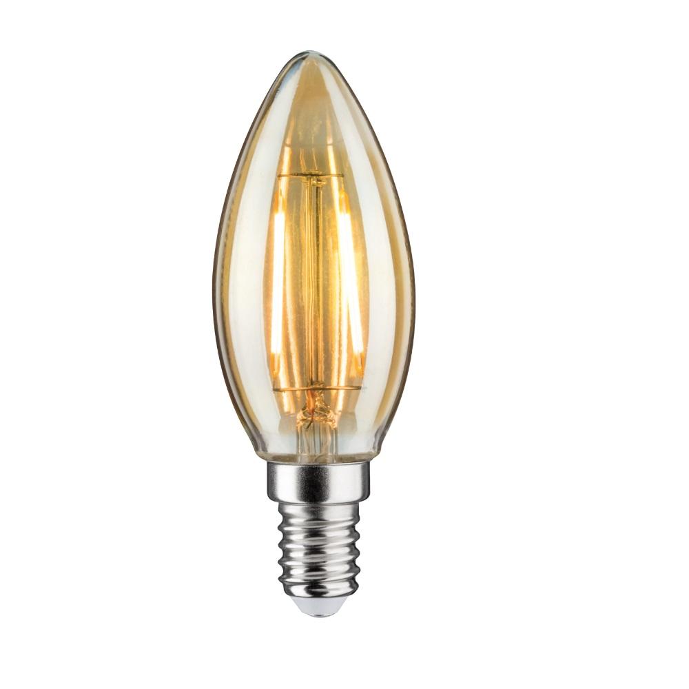 LED Kerze Filament E14, 2,5 Watt, 2500K goldfarben