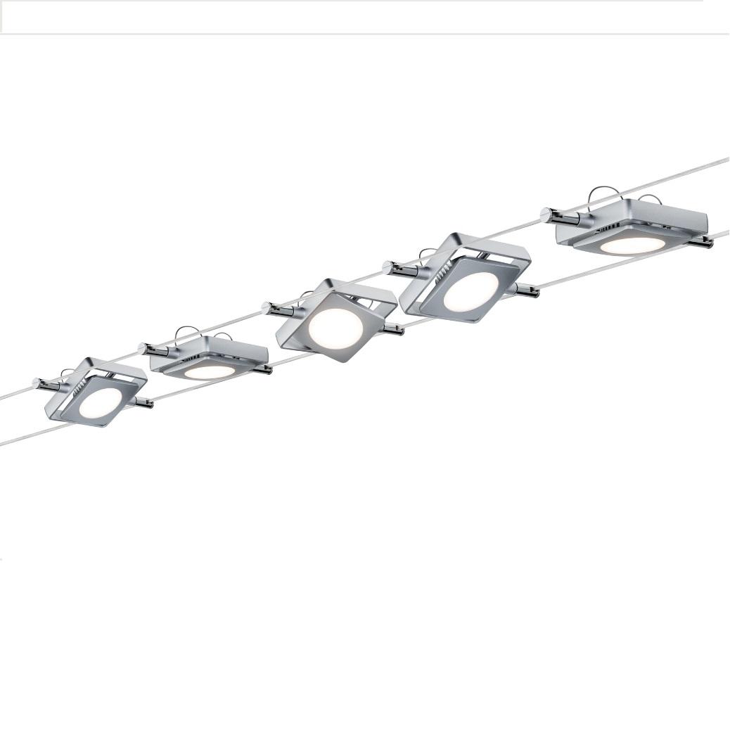 Paulmann LED Komplett-Seilsystem für individuelle Lichtlösungen, Chrom, max. 5 Meter, inklusive 5x 4Watt Spots, 10Meter Seil und Trafo 941.08 | Lampen > Strahler und Systeme > Seilsysteme | Paulmann