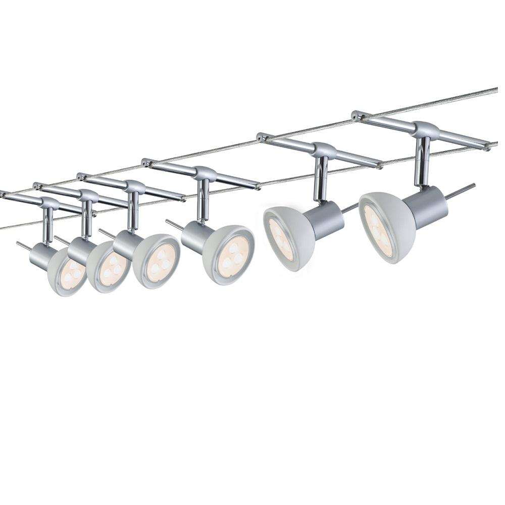 Paulmann LED Komplett-Seilsystem für individuelle Lichtlösungen, Chrom-Opal , max. 5 Meter, inklusive 6 x 4Watt Spots, 10Meter Seil und Trafo 941.23 | Lampen > Strahler und Systeme > Seilsysteme | Paulmann